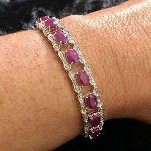 "10K White Gold 8"" Ruby Diamond Tennis Bracelet"